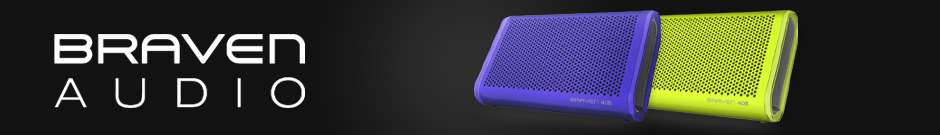 braven - a pair of colorful braven speakers on a black background