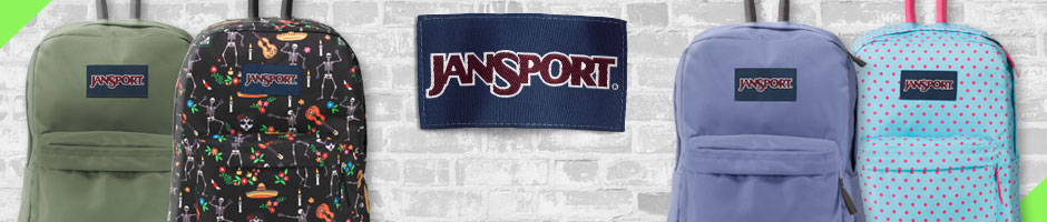 Jansport - 4 differnt jansport backpacks overlaying a white brick wall background