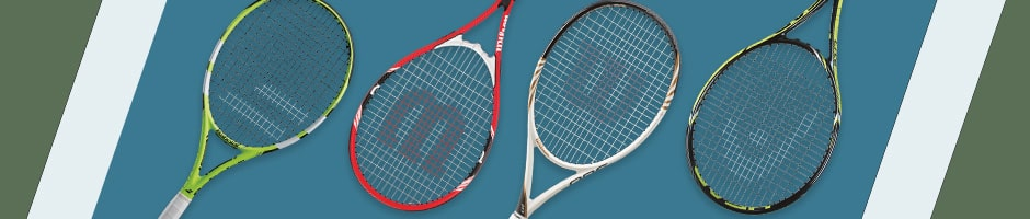 4 tennis rackets overlaying a tennis court