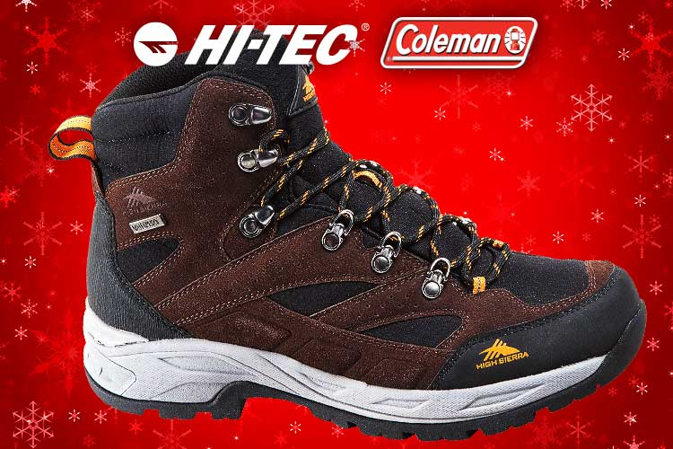 Hiking Boots Sale - picture of HI-Tec boot on christmas background