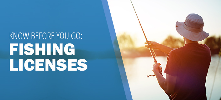 Know Before You Go: Fishing Licenses - a man wearing a hat and a fishing pole with his back turned toward a blurred lake in the background